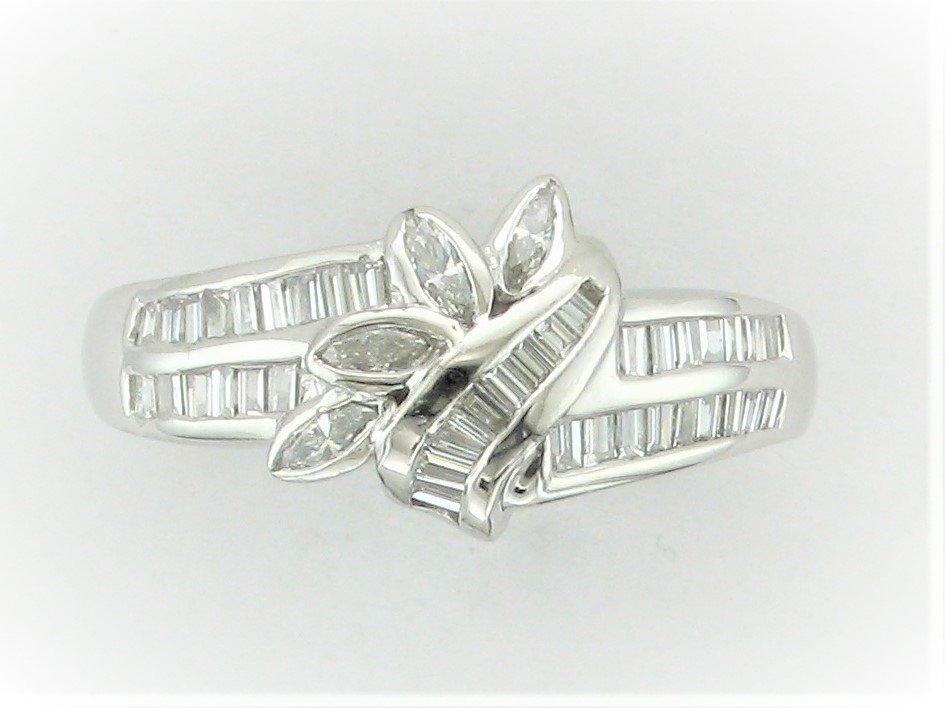 Platinum Designer Baguette and Marquise Diamond Ring