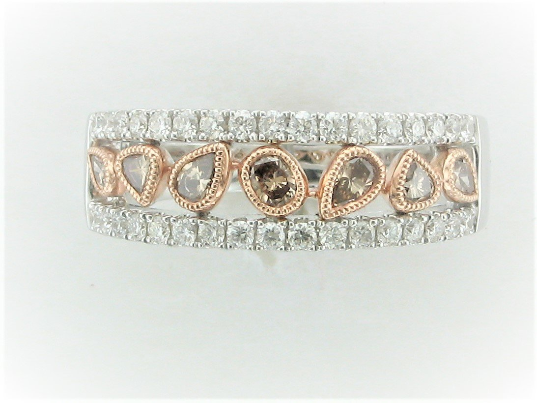 Cognac and White Diamond Band set in 14 Karat Two-Tone Rose and White Gold