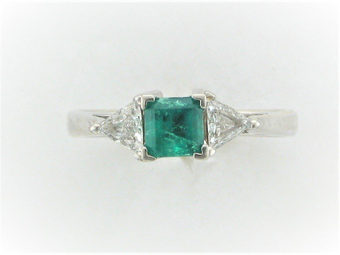.55 Carat Princess Cut Emerald and Trilliant Diamond Ring Set in 14 Karat White Gold