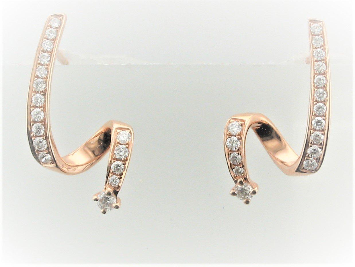 0.29 Total Carat Weight Diamond Free form Earrings Set in 14 Karat Rose Gold