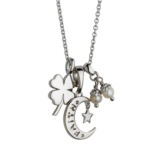 Sterling Silver Four Leaf Clover Pendant with Two White Pearls on 18 Cable Chain with Heart Faith Moon Charm