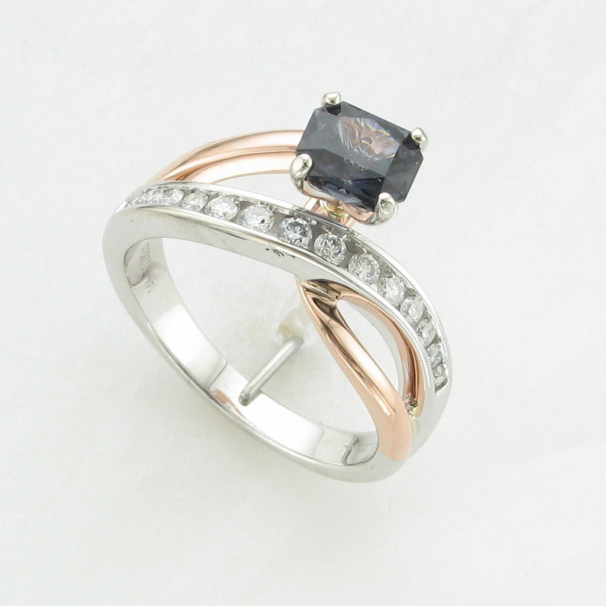 1.09ct Spinel Bypass Diamond Accent Ring in 14K White and Rose Gold