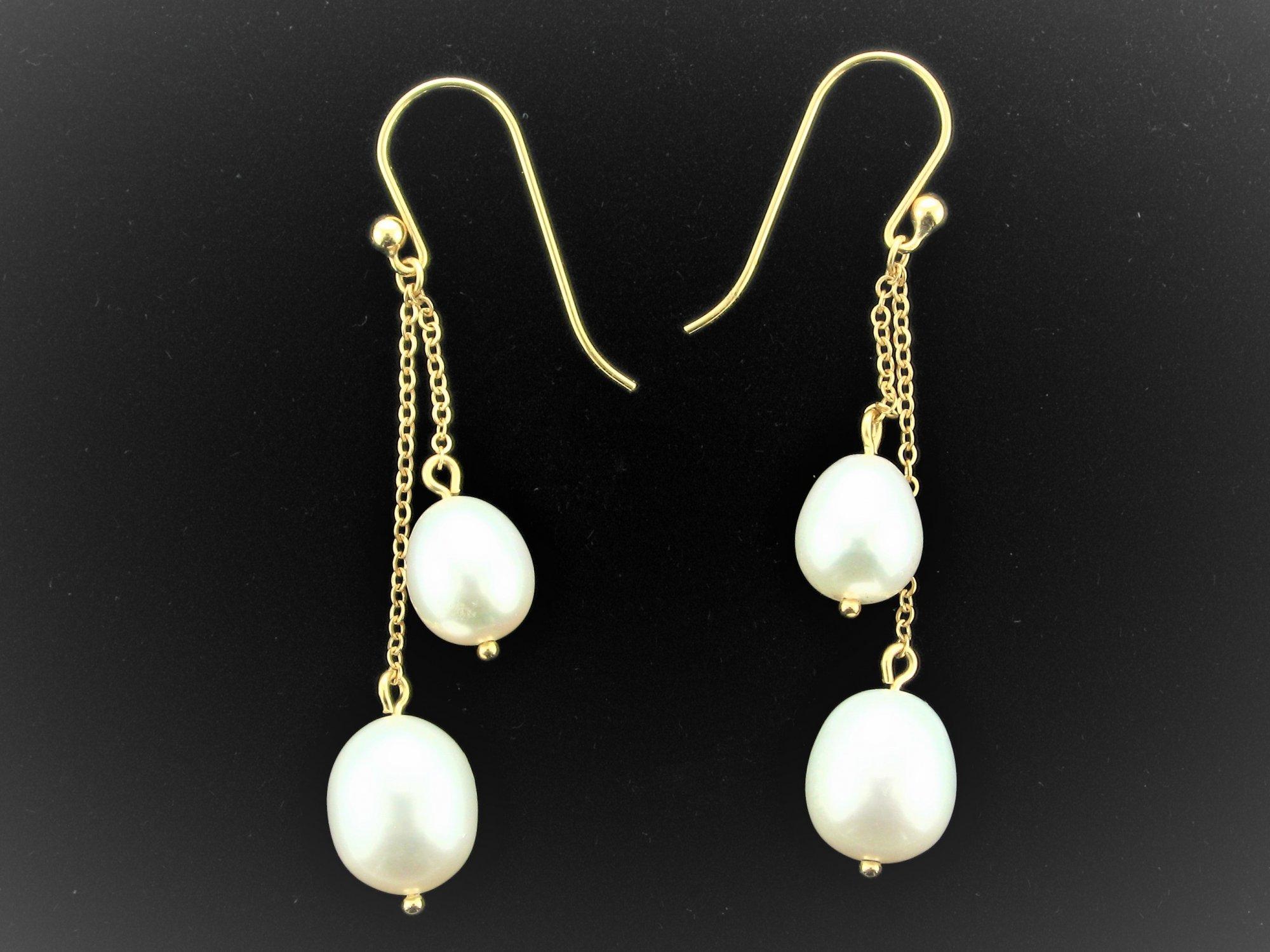 Twin Dangle Pearl Earrings set in 14 Karat Yellow Gold