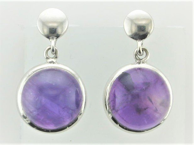 Amethyst 20x13 MM  Round Drop Earrings Set in Sterling Silver