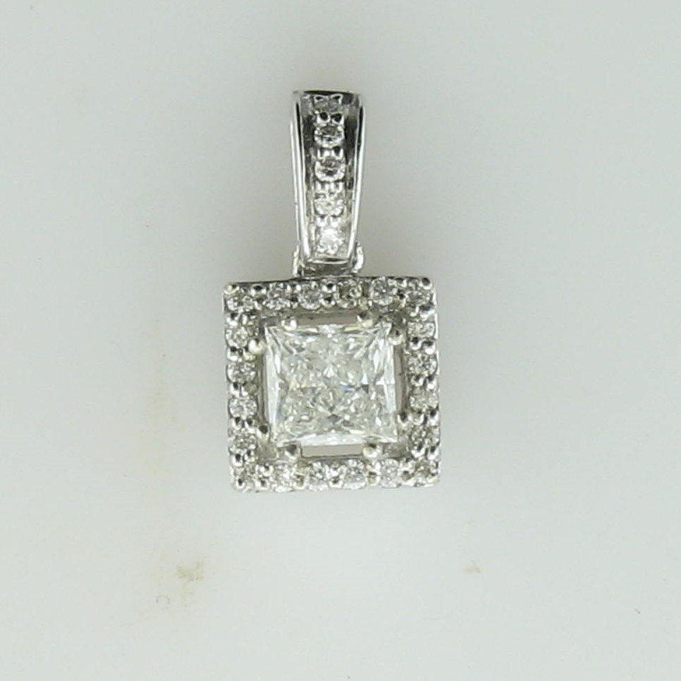 0.37ct  Princess Diamond Pendant set in 14K White Gold