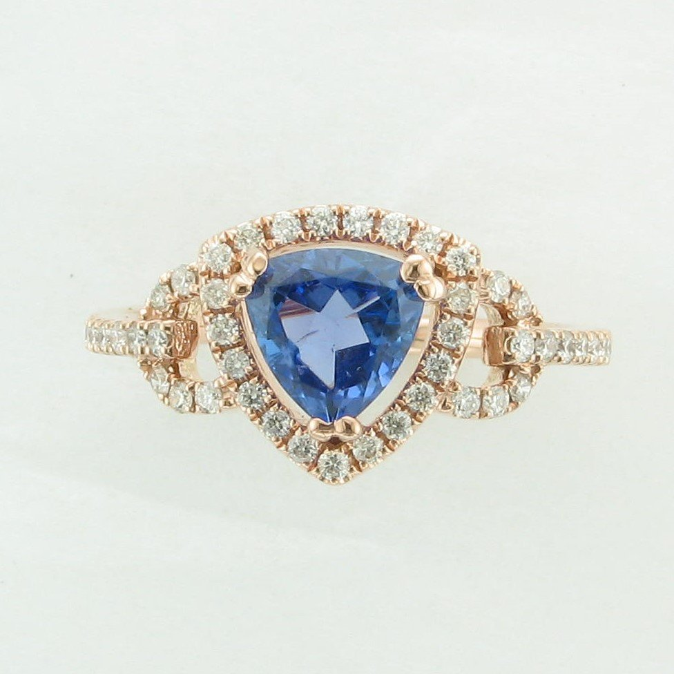1.07ct Trillion Tanzanite Ring set in 14K Rose Gold