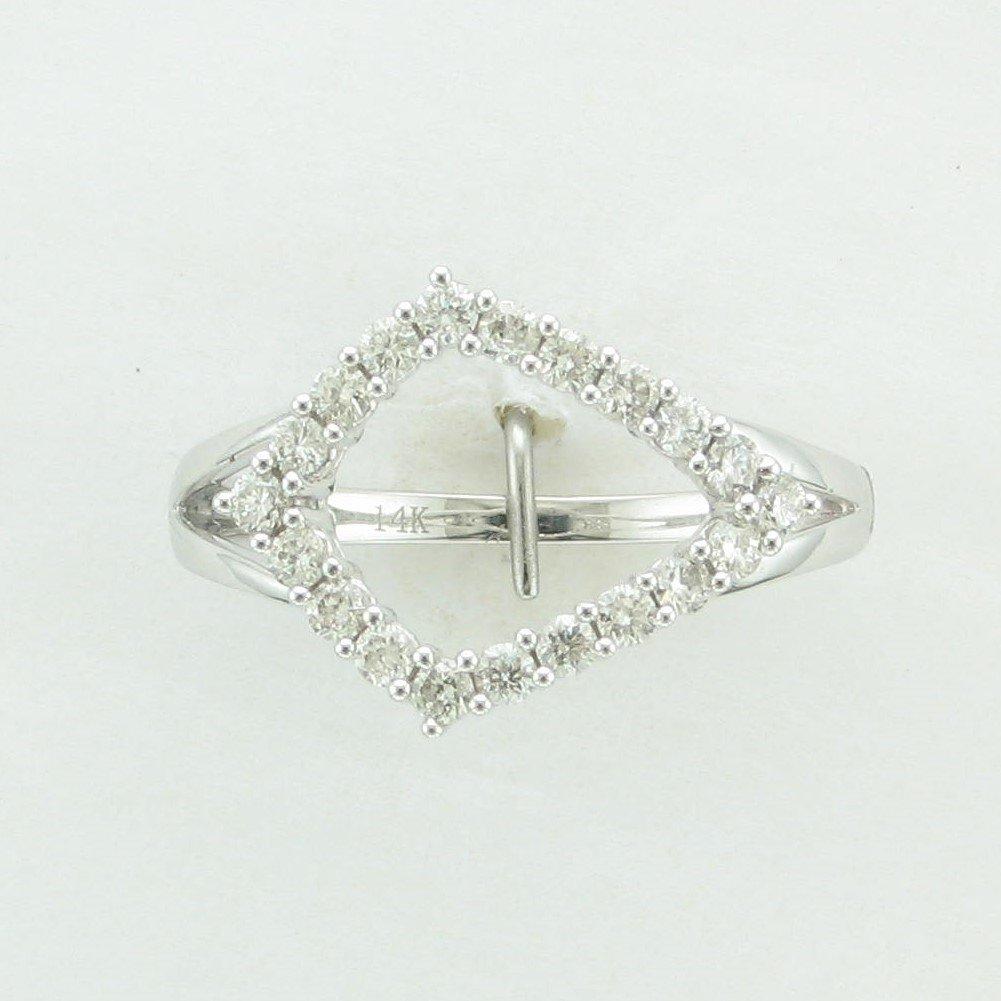 14K White Gold Diamond Kite Shaped Ring