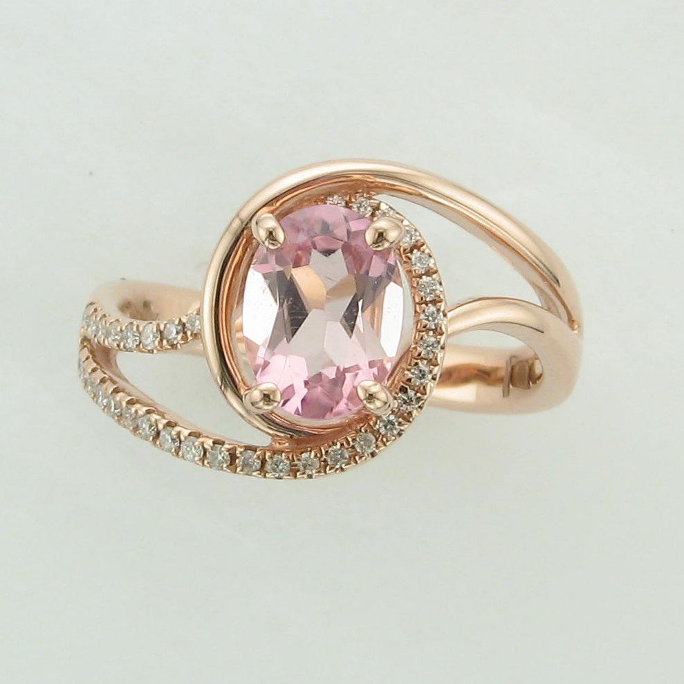 1.17ct Oval Pink Tourmaline Ring Set in 14 Karat Rose Gold
