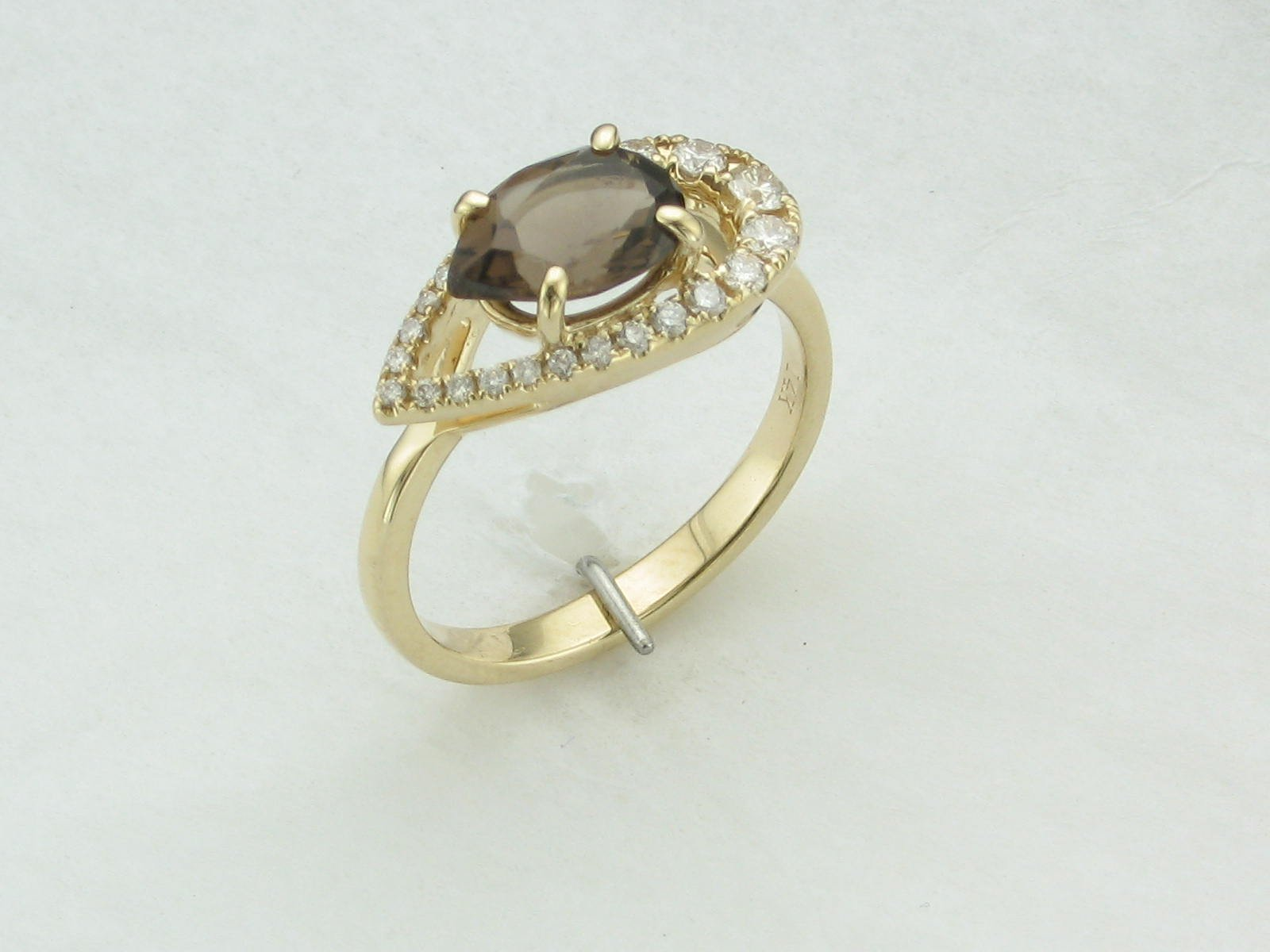 14K Yellow Gold Diamond and Pear Smoky Quartz Ring