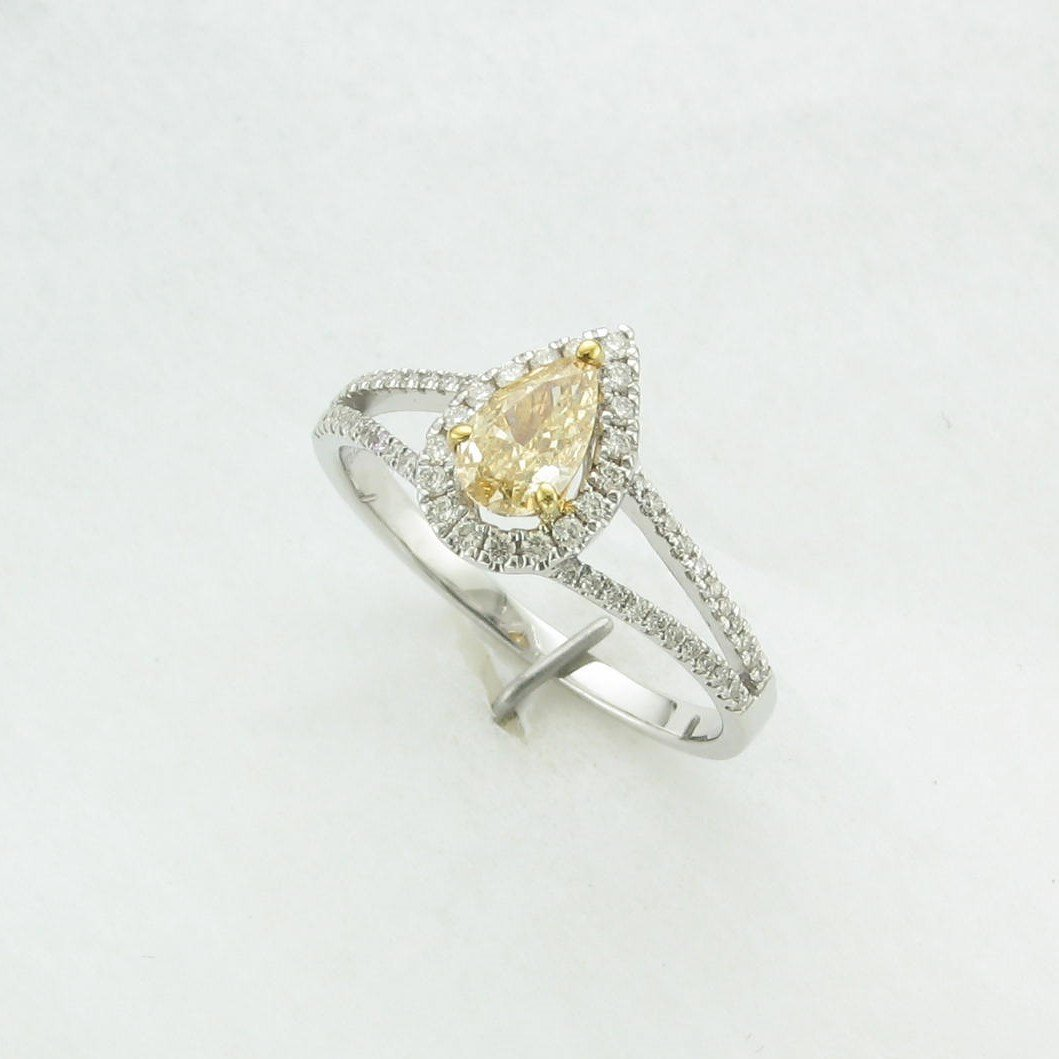 0.51ct Natural Yellow Diamond Ring set in 14k White Gold