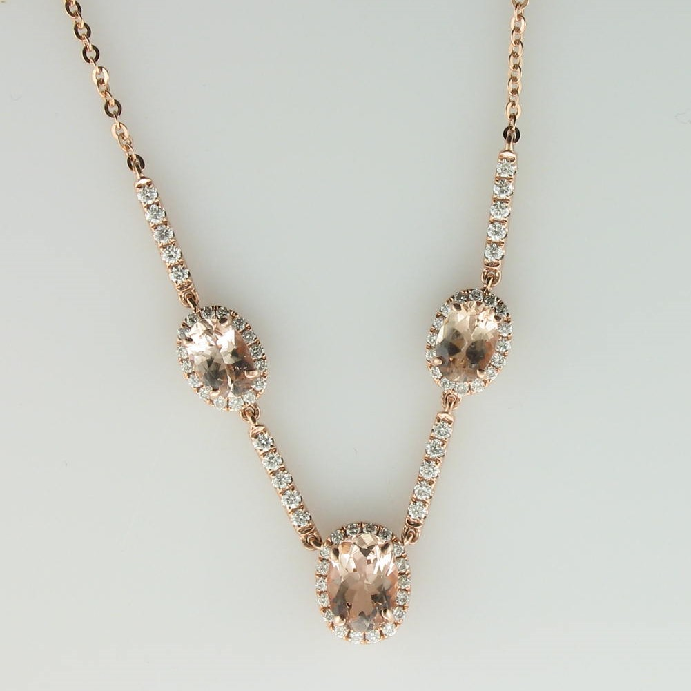 1.69tcw Morganite and Diamond Necklace set in 14k Rose Gold