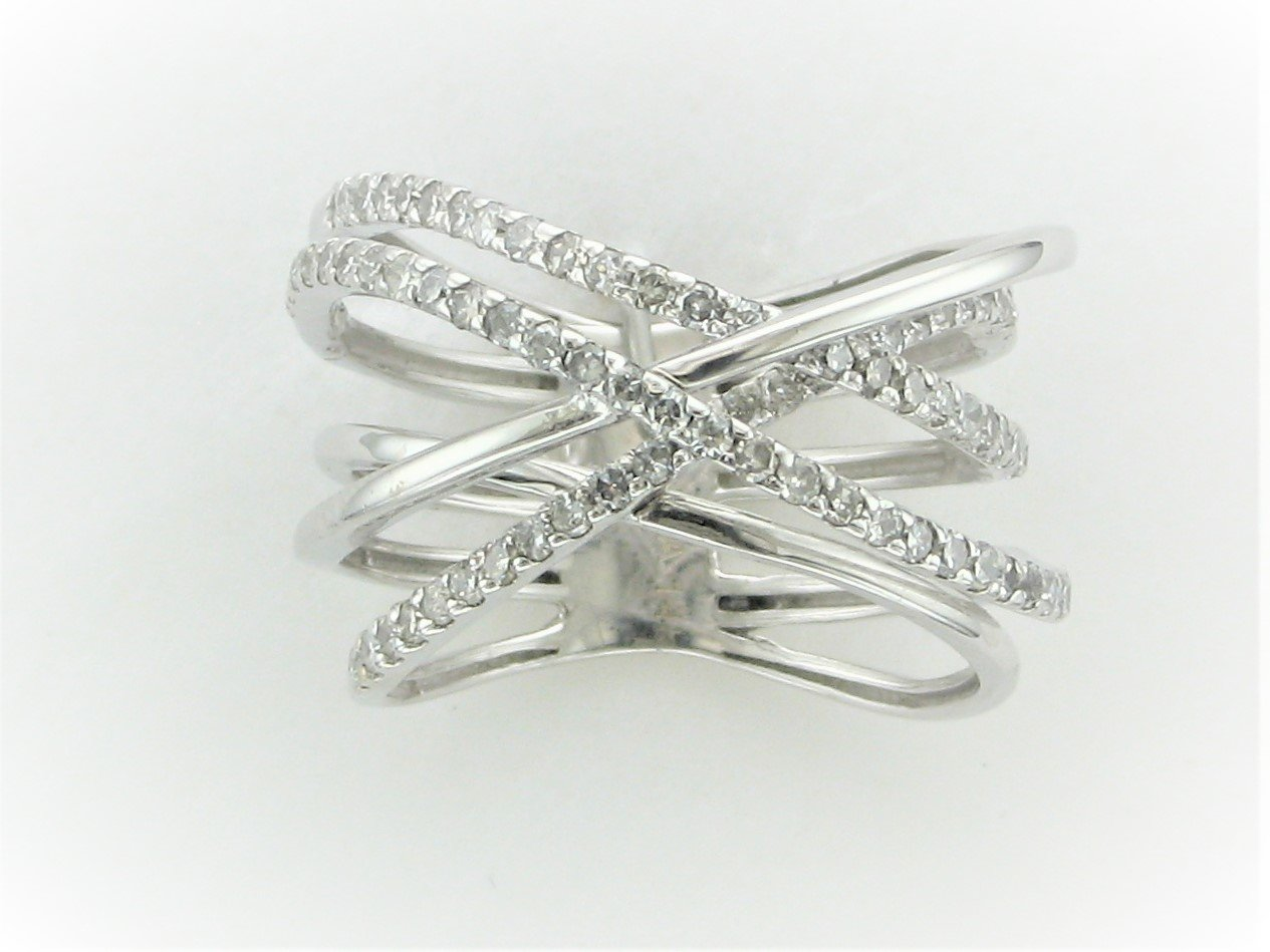 0.75 Total Carat Weight Diamond Freeform Ring Set in 14 Karat White Gold