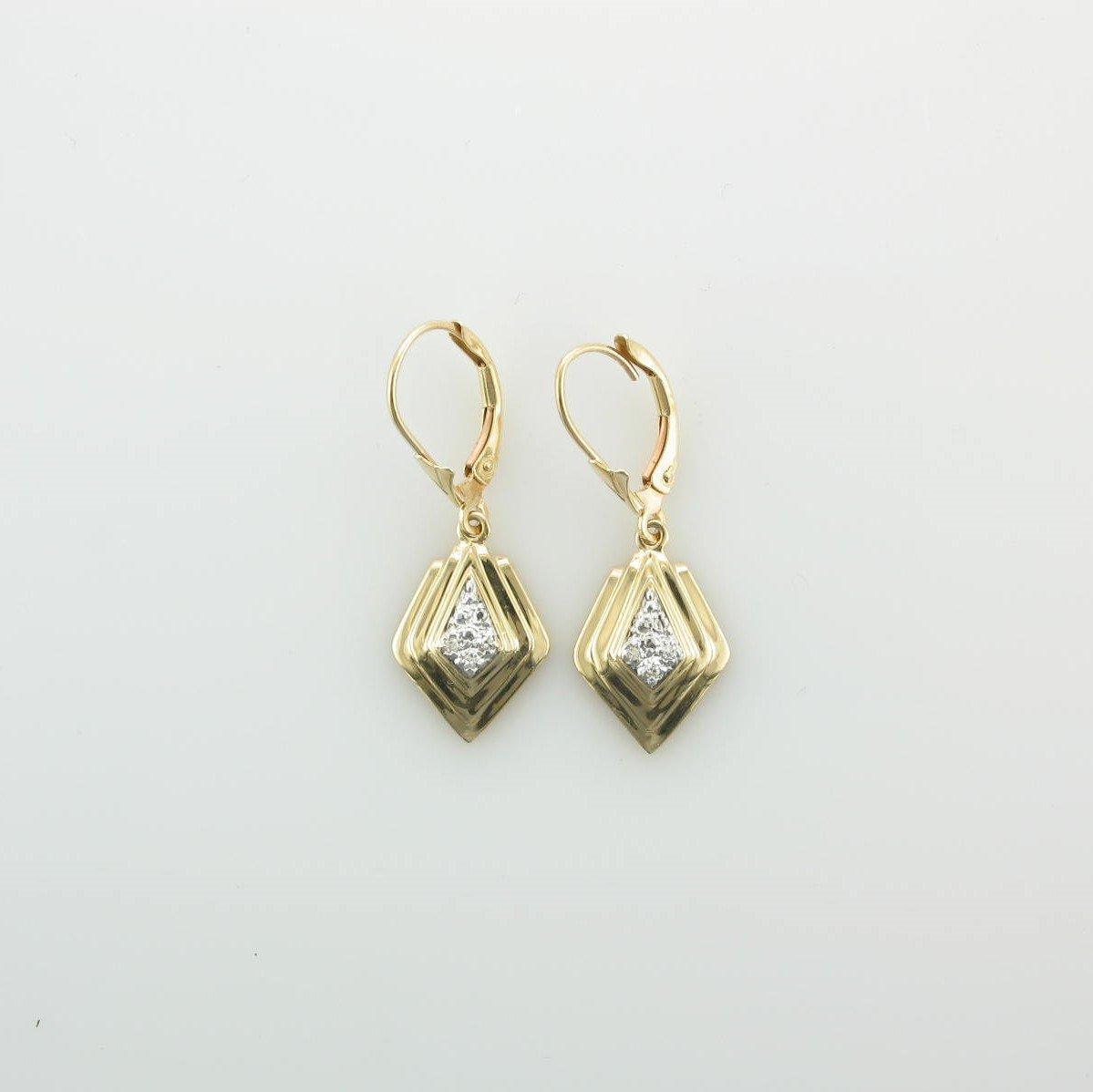 Two Tone Kite Shaped Diamond Earrings set in 14K Yellow Gold