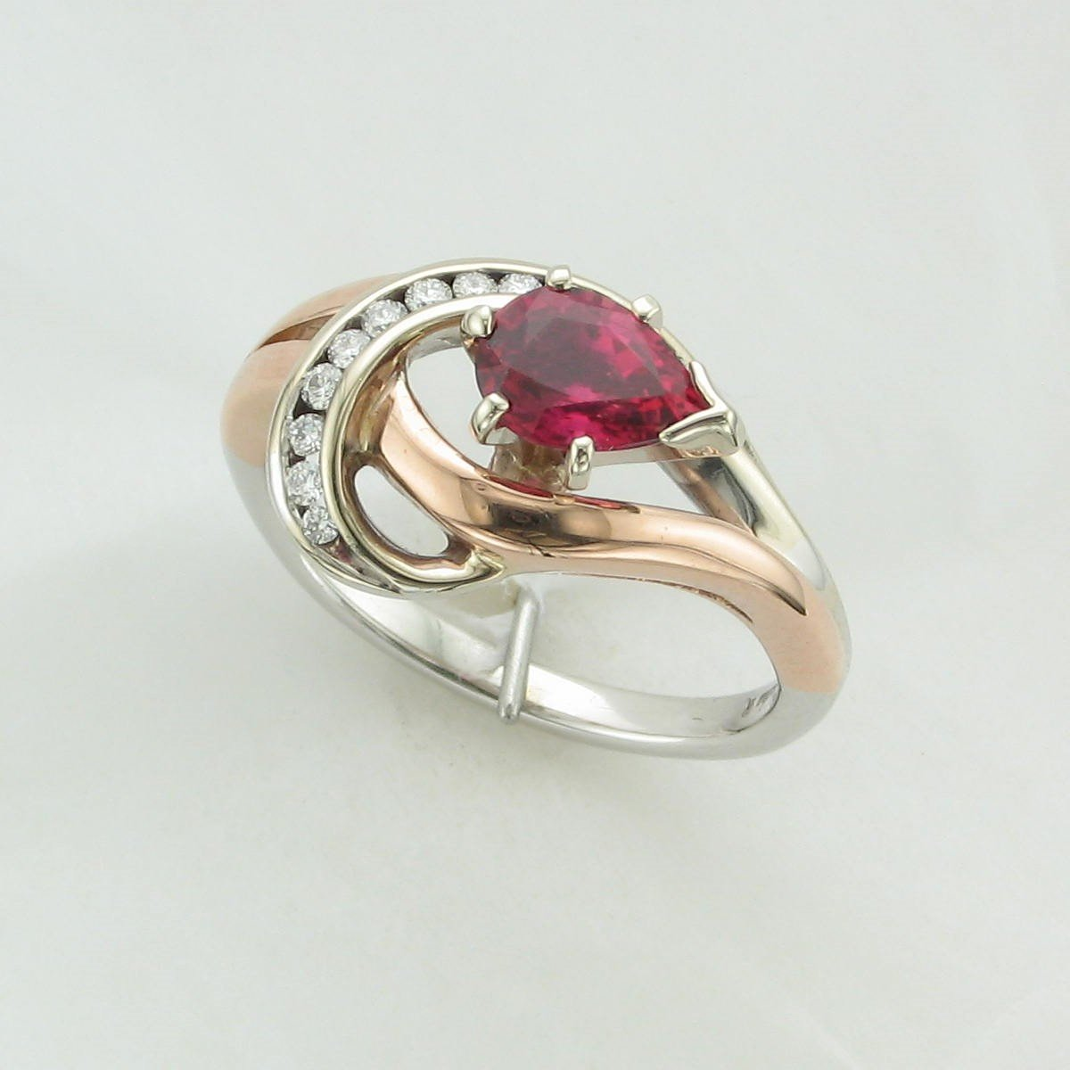 0.96ct Pink Tourmaline & Diamond Ring set in 14K Two-Tone White Gold and Rose Gold