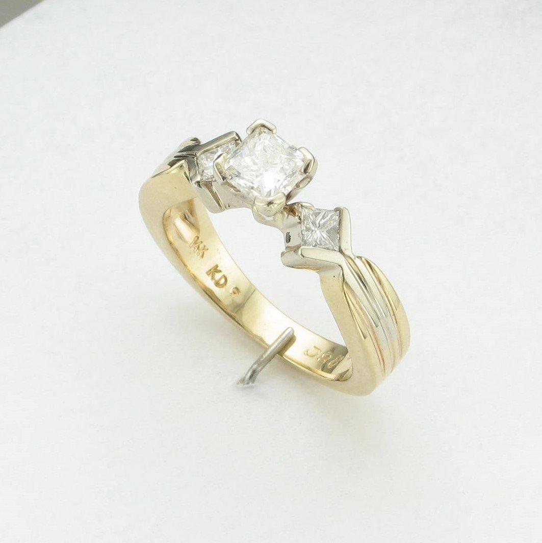0.79ct Princess Cut Diamond  Ring Set in 14 Karat Yellow & White Gold