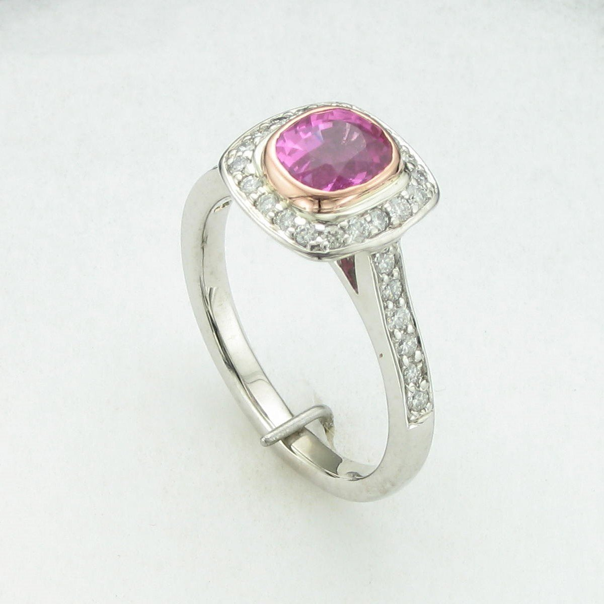1.6tct Natural Pink Sapphire Ring set in 14k White Gold
