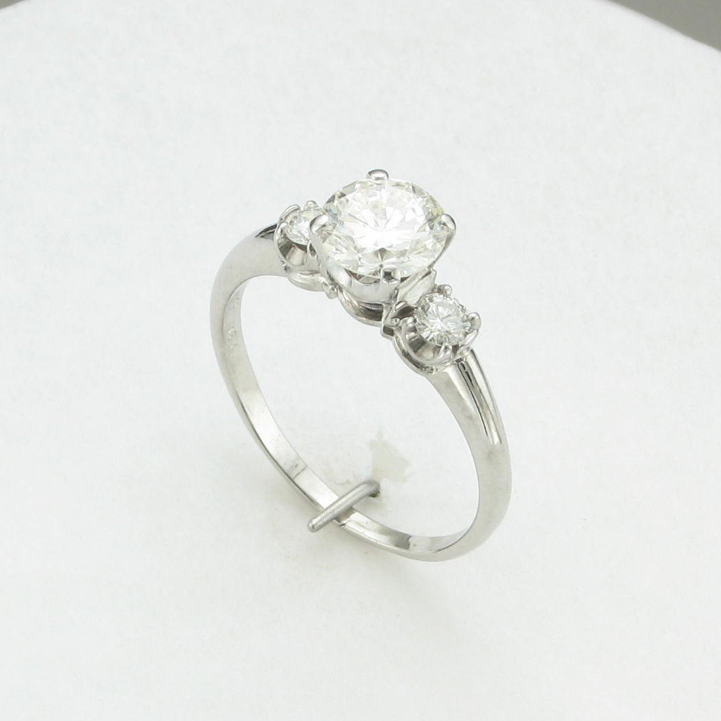 1.0ct Round Diamond Ring with Accent Diamonds set in 18K White Gold