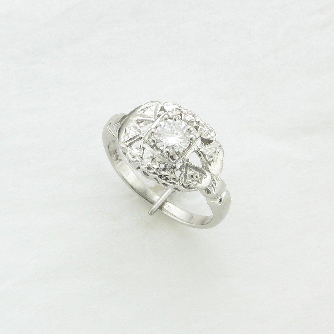 0.25ct Vintage Diamond and Filigree Ring Set in 14 Karat White Gold