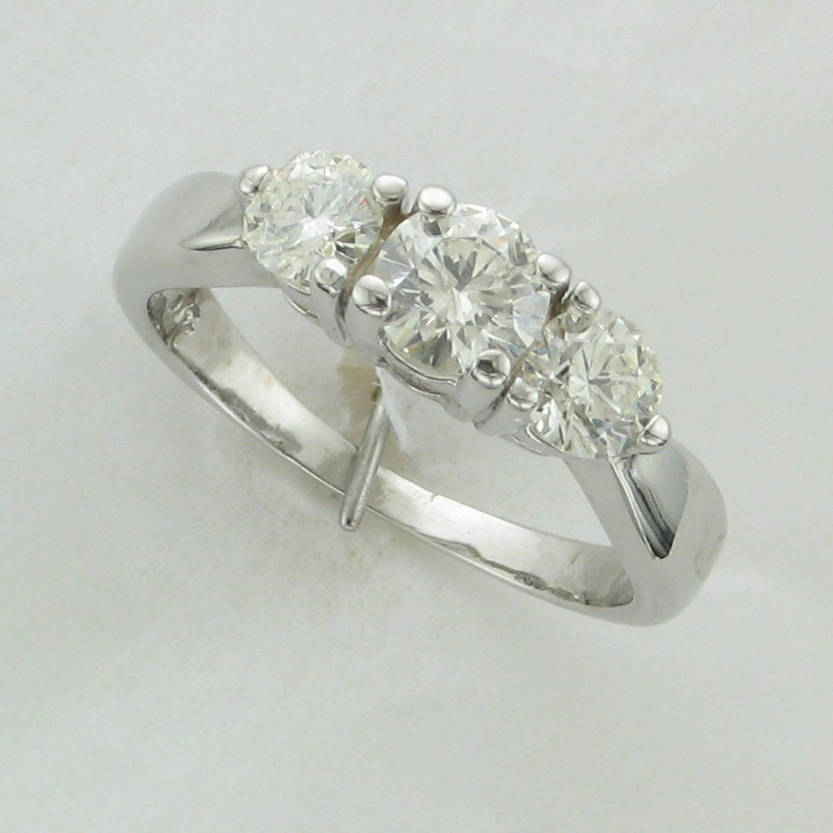 1.25tcw Diamond 3 Stone Ring set in 14K White Gold
