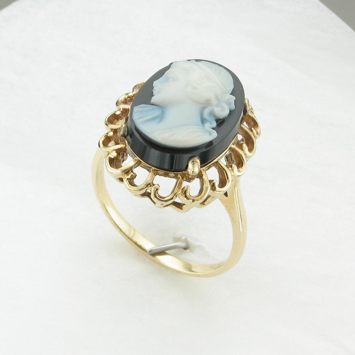 Black Onyx Cameo Ring set in 14K Yellow Gold