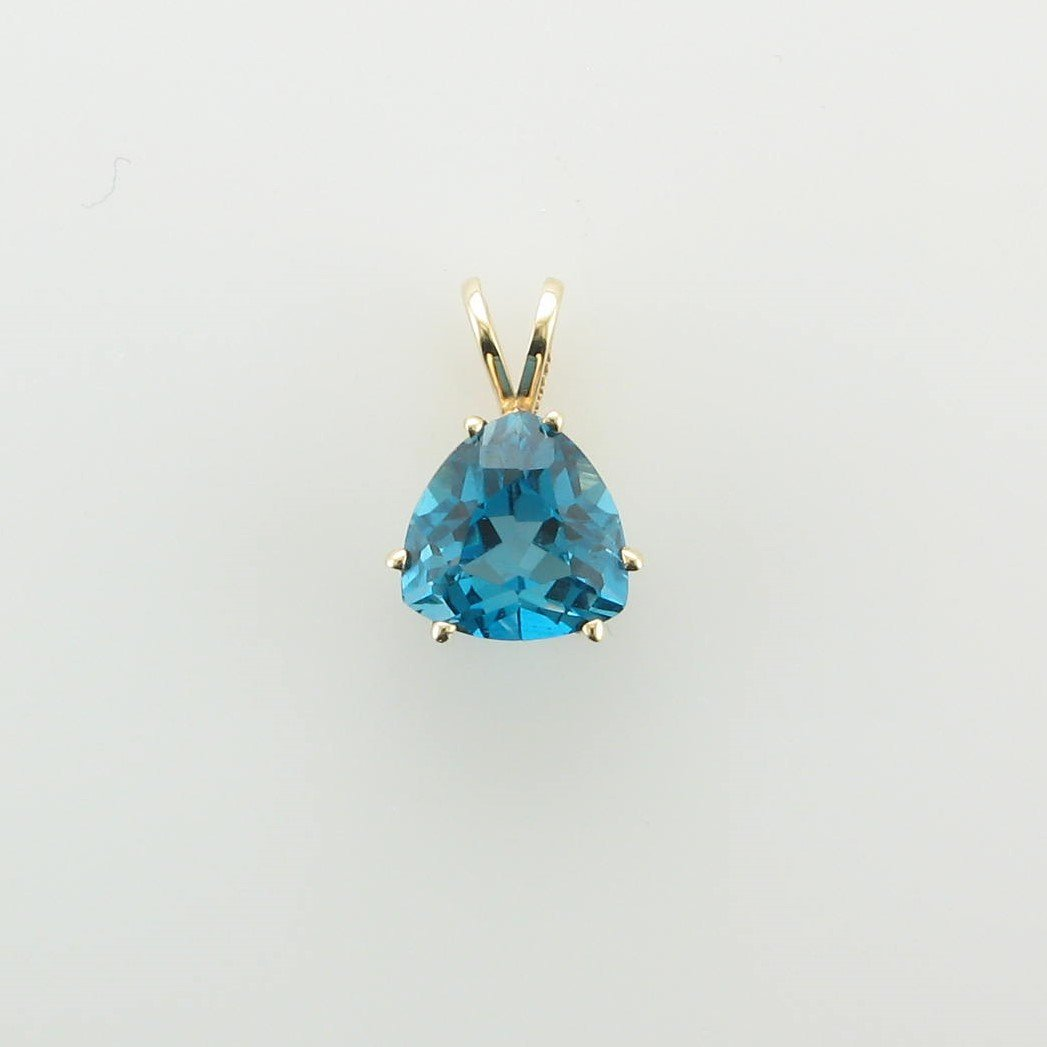 1ct Trillion Blue Topaz Pendant set in 10k Yellow Gold