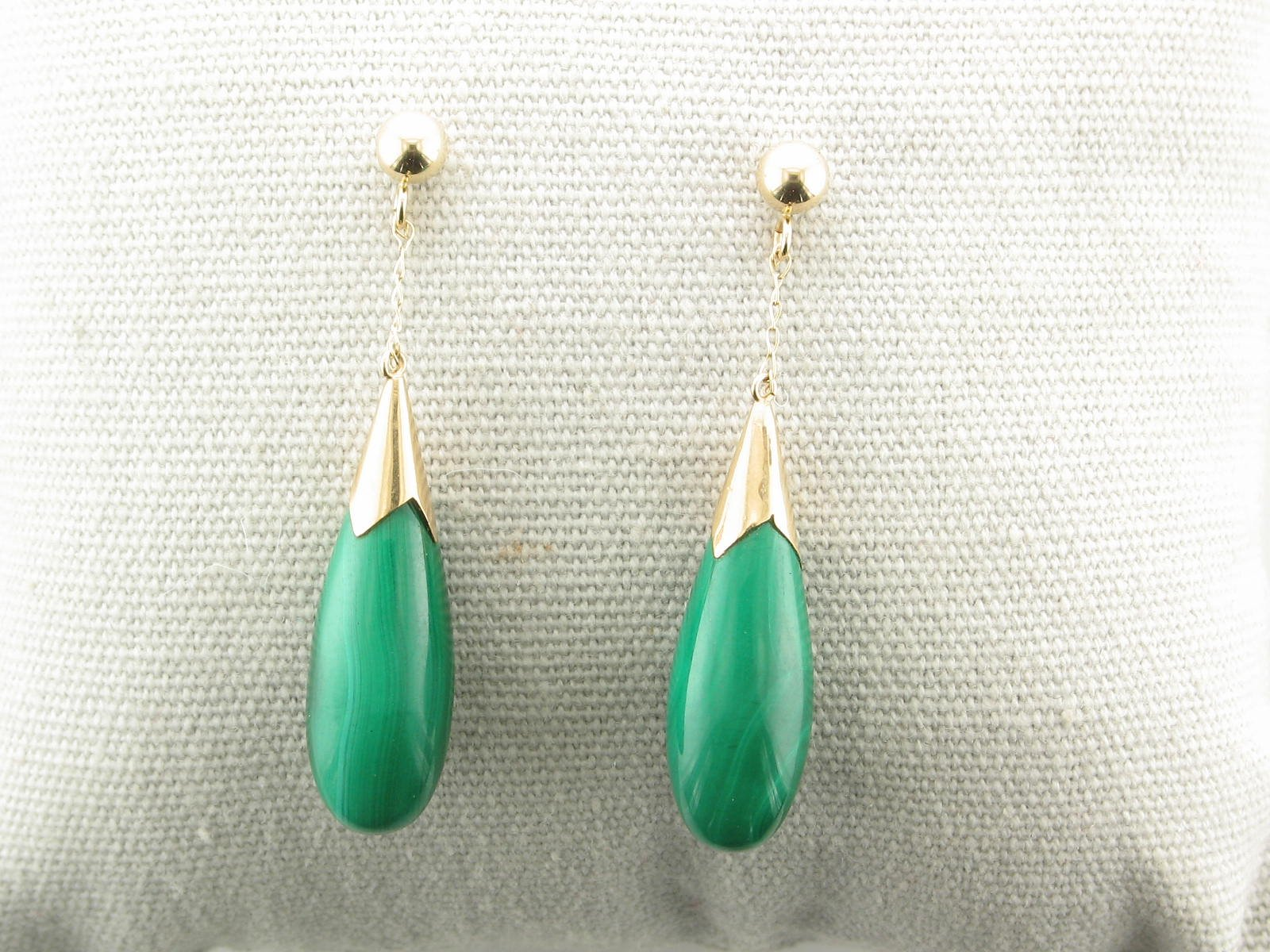 Malacite Drop Earrings set in 14K Yellow Gold