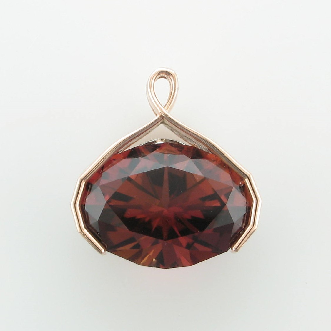 13.88ct Copper Tourmaline Pendant set in 14K Rose & White Gold
