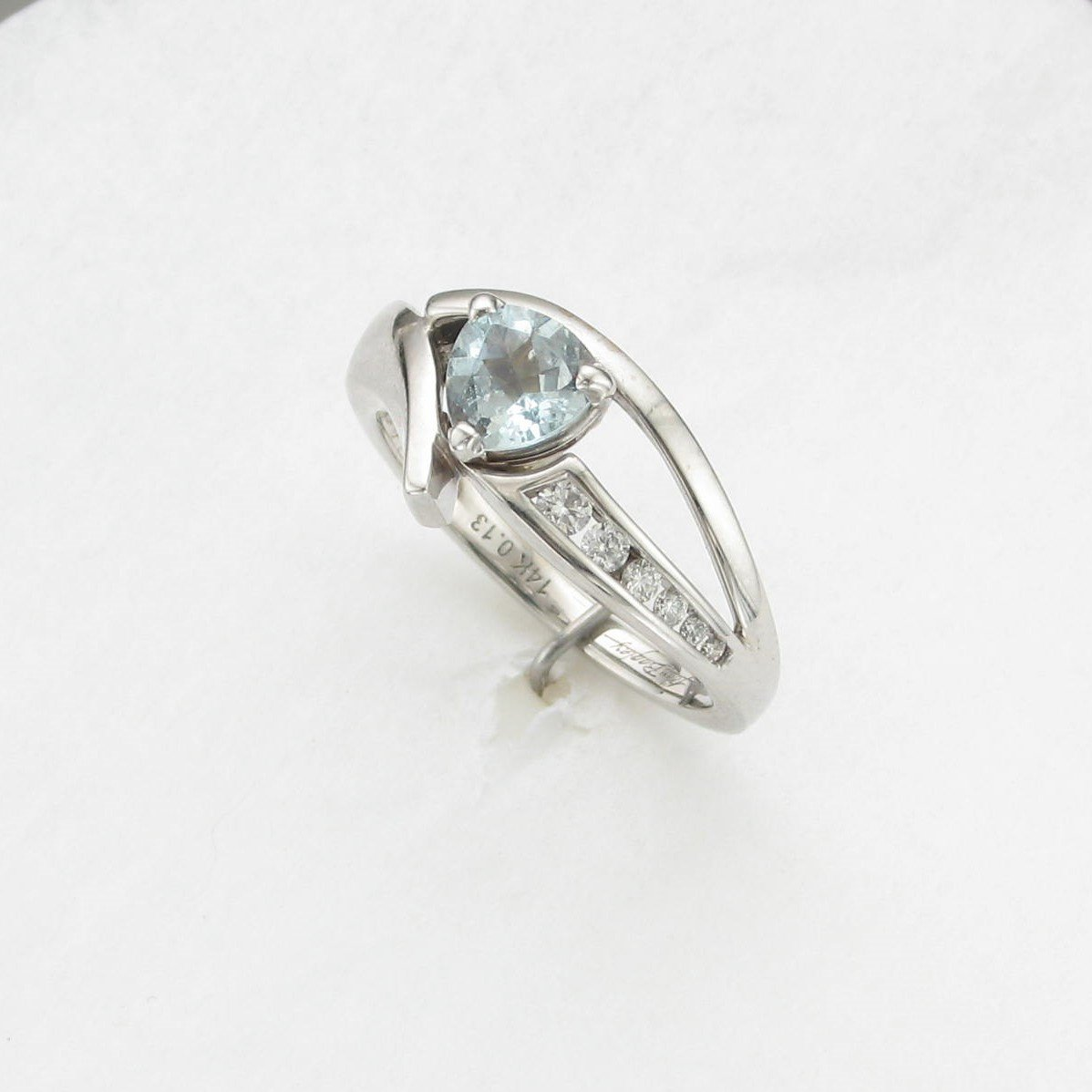 0.60ct Aquamarine and Diamond Accent Bypass Ring in 14K White Gold