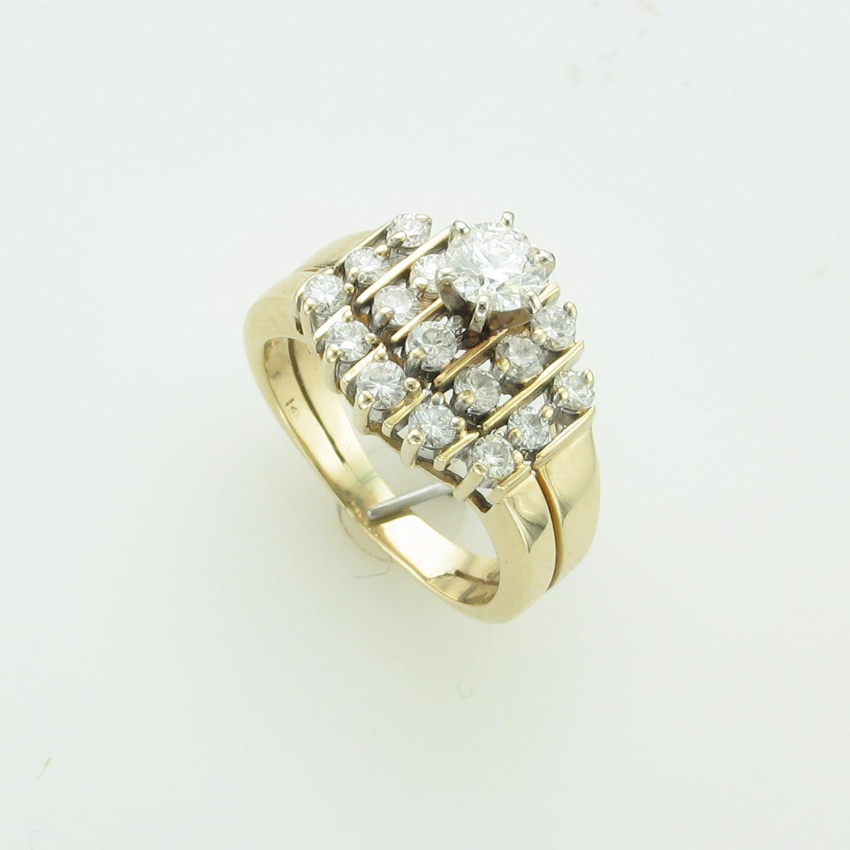 0.40ct Center Diamond  with 0.50tcw Accent Diamond Ring set in 14K Yellow Gold
