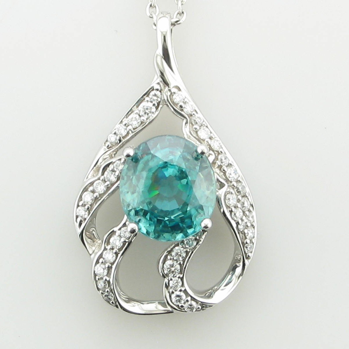 4.43 Carat  Blue Zircon and Diamond Pendant set in 18 Karat  White Gold