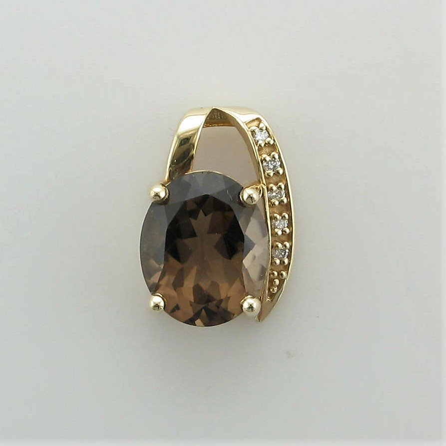 14K Yellow Gold Designer Smokey Quartz and Diamond Pendant