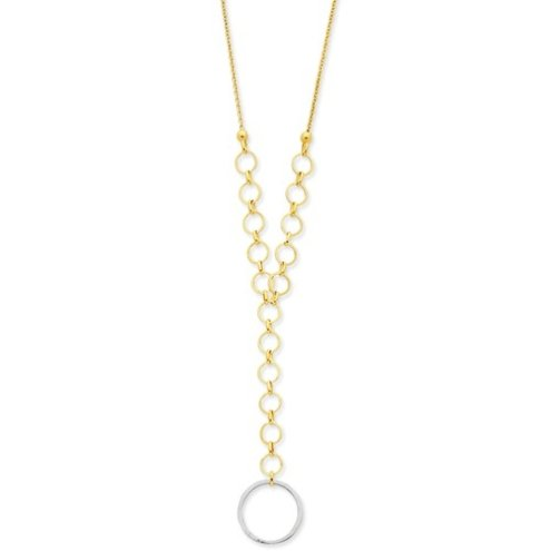 14K Two-Tone Yellow and White Gold Y Circle Links Necklace