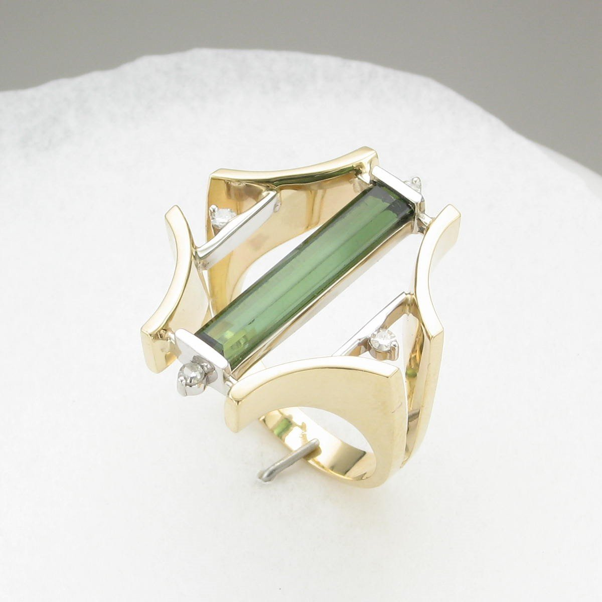 1.99 Total Carat  Green Tourmaline & Diamond Ring set in 18 Karat Yellow and White Gold