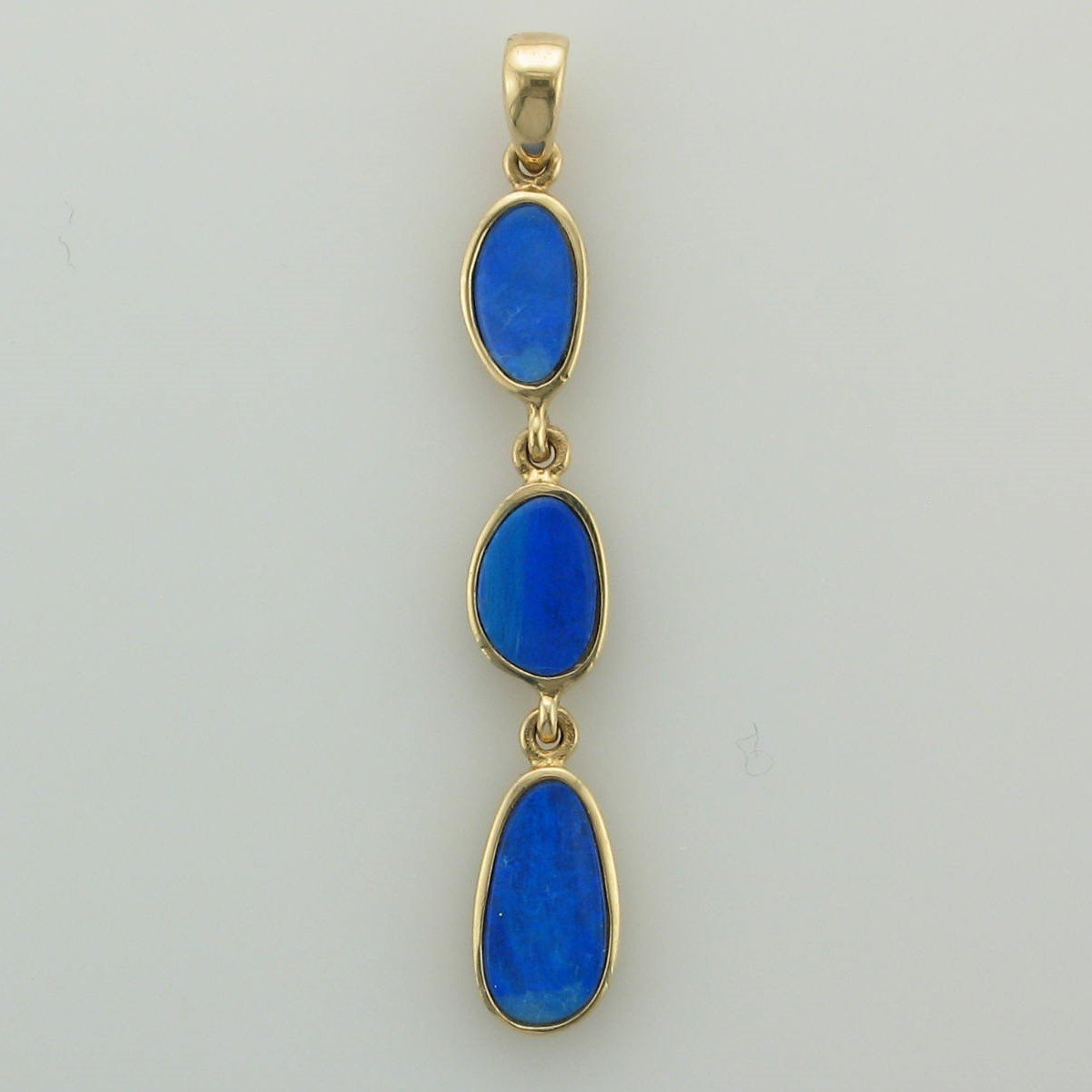 Gold Australian Opal Doublet Pendant Set in 14 Karat Yellow Gold