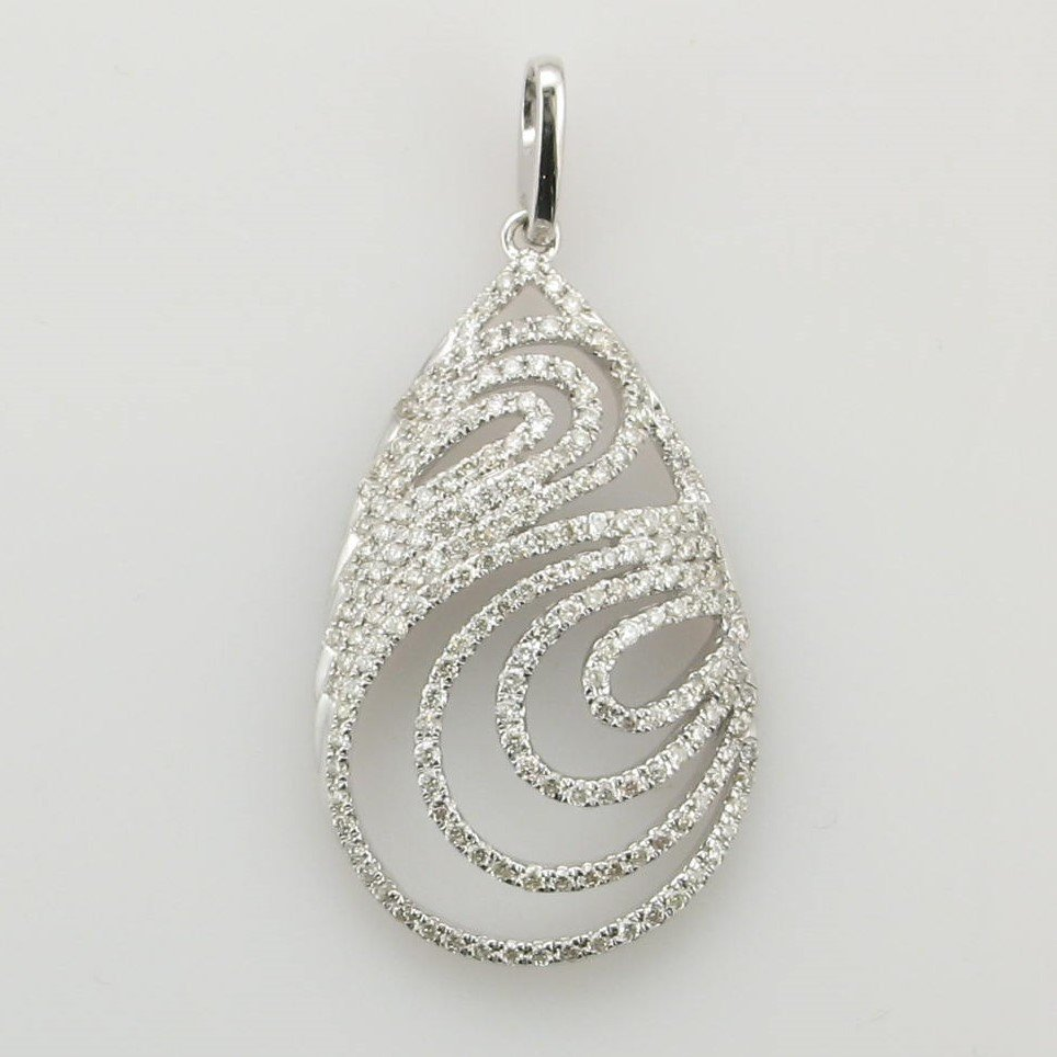 14K White Gold Diamond Ripple Pendant