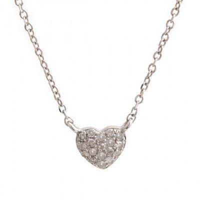 14K White Gold Pave Diamond Heart Necklace