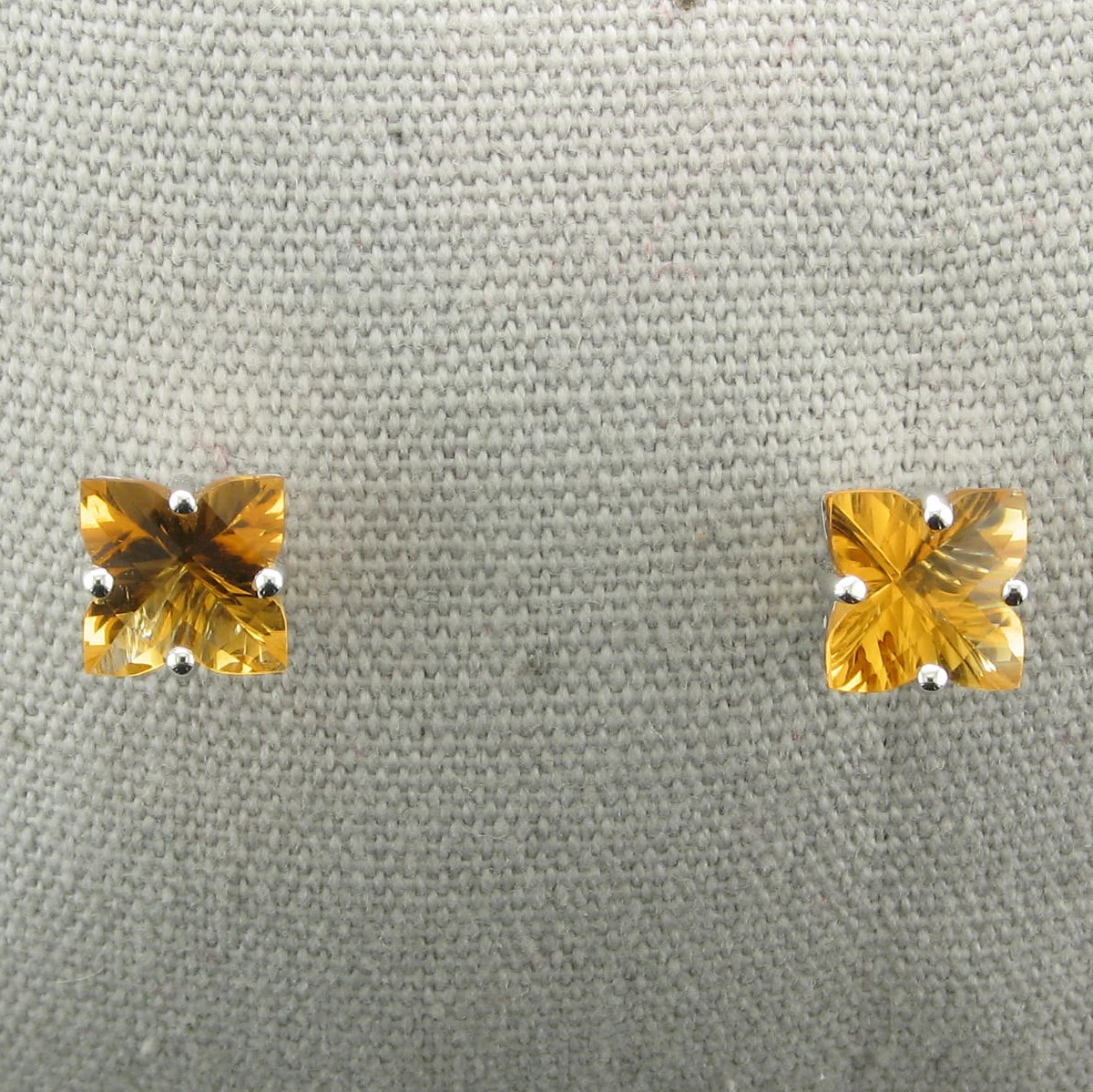 2.64ct Lily Cut Citrine Earrings set in 14k White Gold