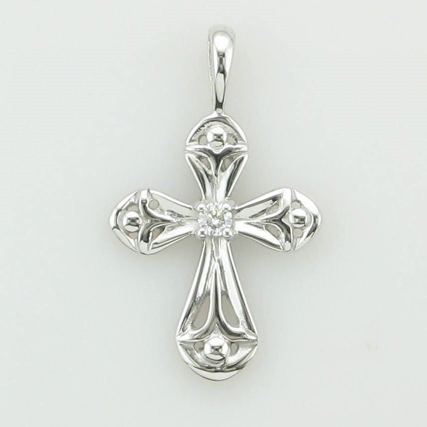 14K White Gold Detailed Diamond Cross Pendant