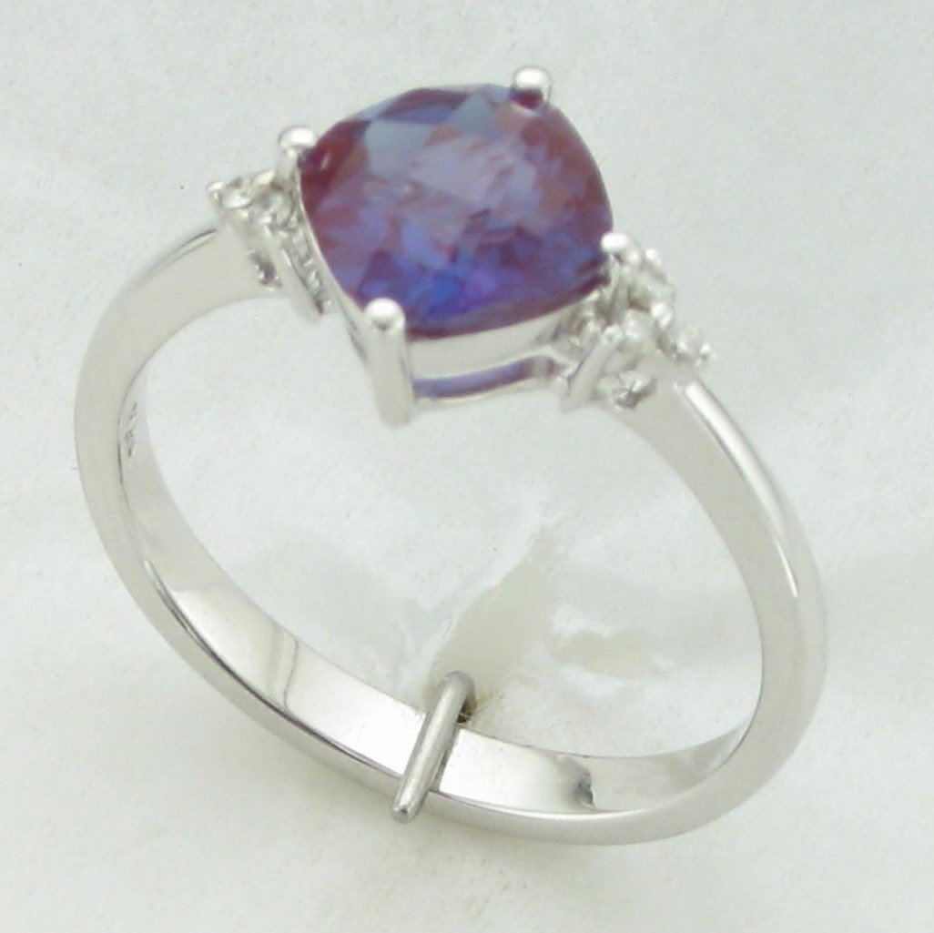 1.60ct Lab Created Alexandrite & Diamond Ring set in 14K White Gold