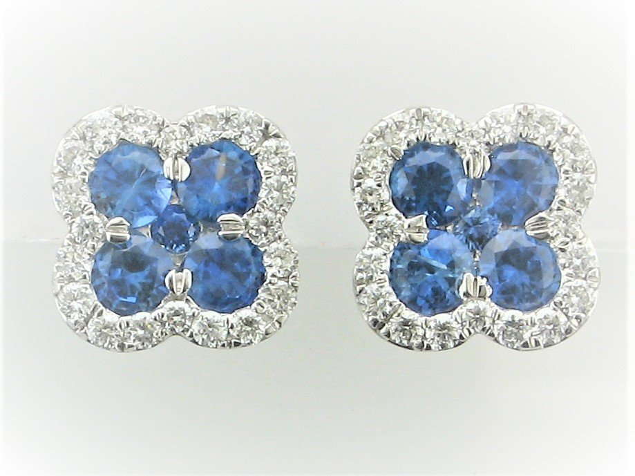 1.54 Total Carat Weight Sapphire and Diamond Earrings set in 14 Karat White Gold