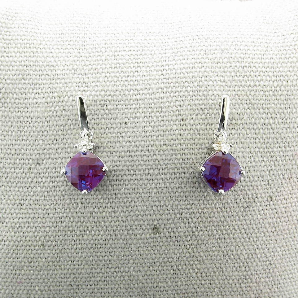 2.03tcw Lab Created Alexandrite & Diamond Earrings set in 14K White Gold