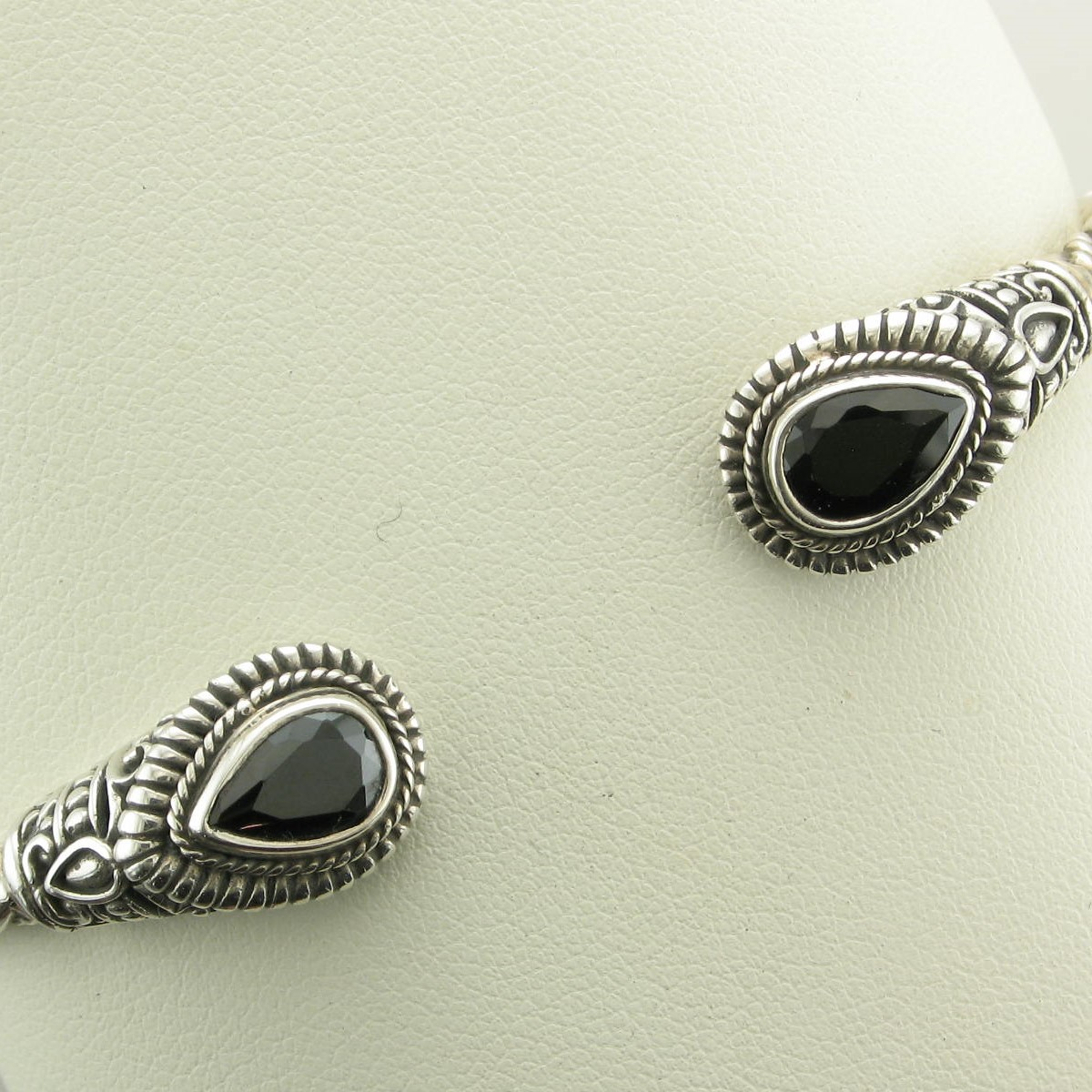 Sterling Silver Bali Style Black Onyx Hinged Cuff Bracelet