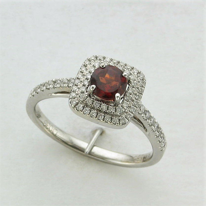 14K White Gold Garnet and Diamond Square Halo Ring