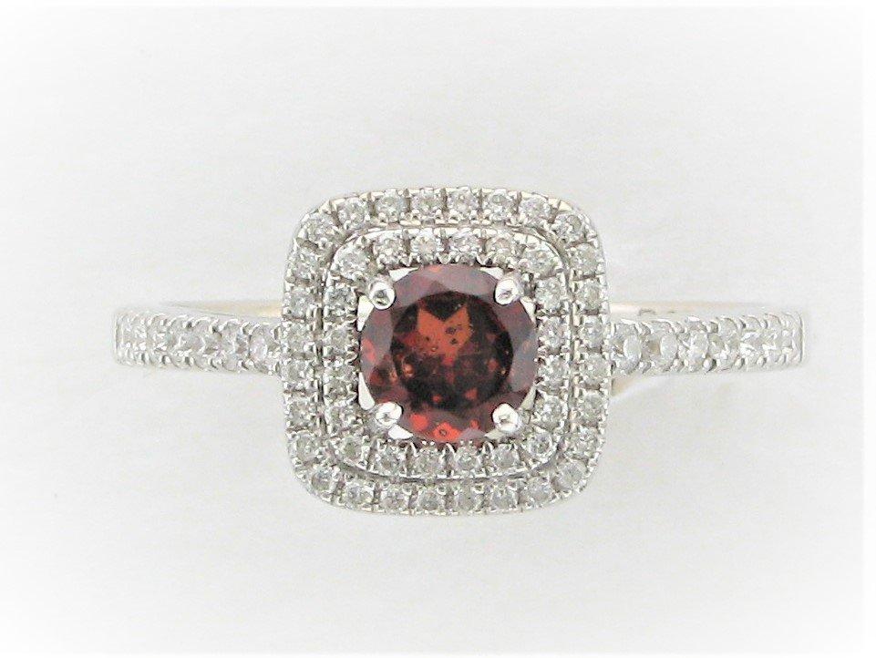 Garnet and Diamond Square Halo Ring Set in 14 Karat White Gold