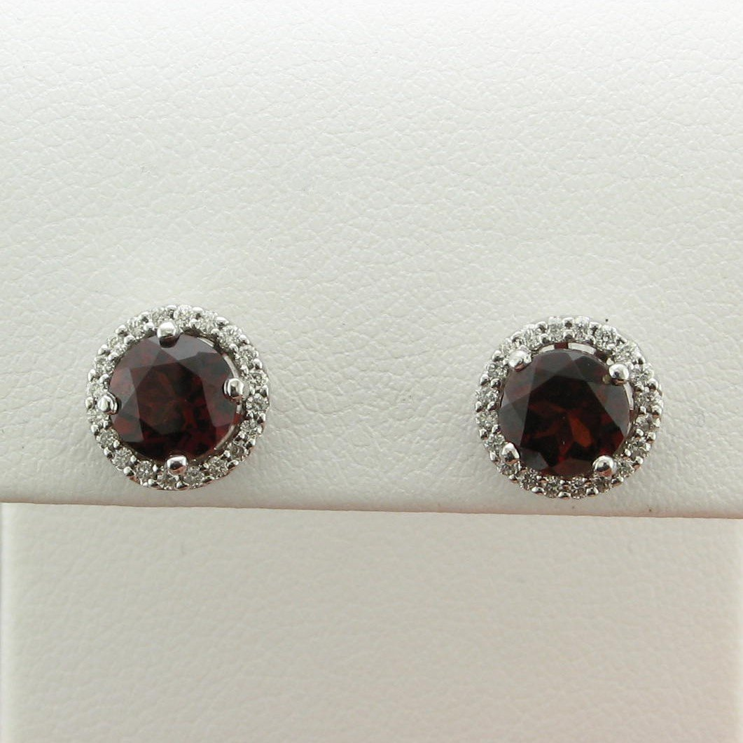 14K White Gold Garnet and Diamond Stud Earrings