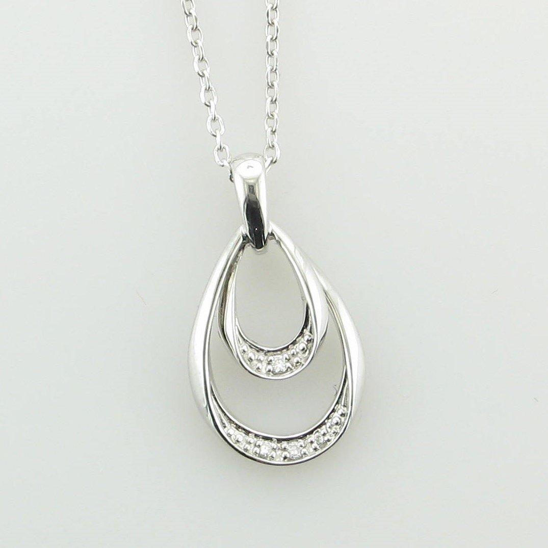 14K White Gold Double Teardrop Diamond Pendant