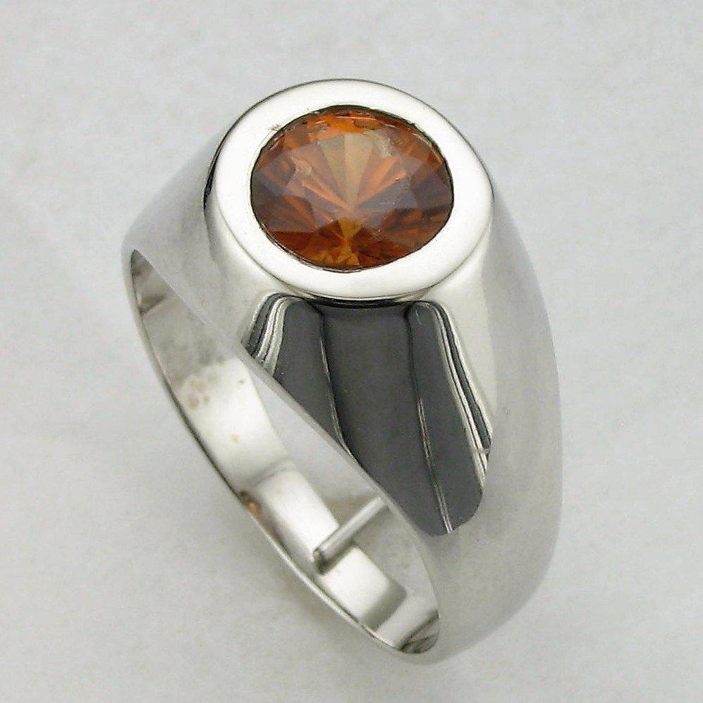 18K White Gold Designer Orange Zircon Ring