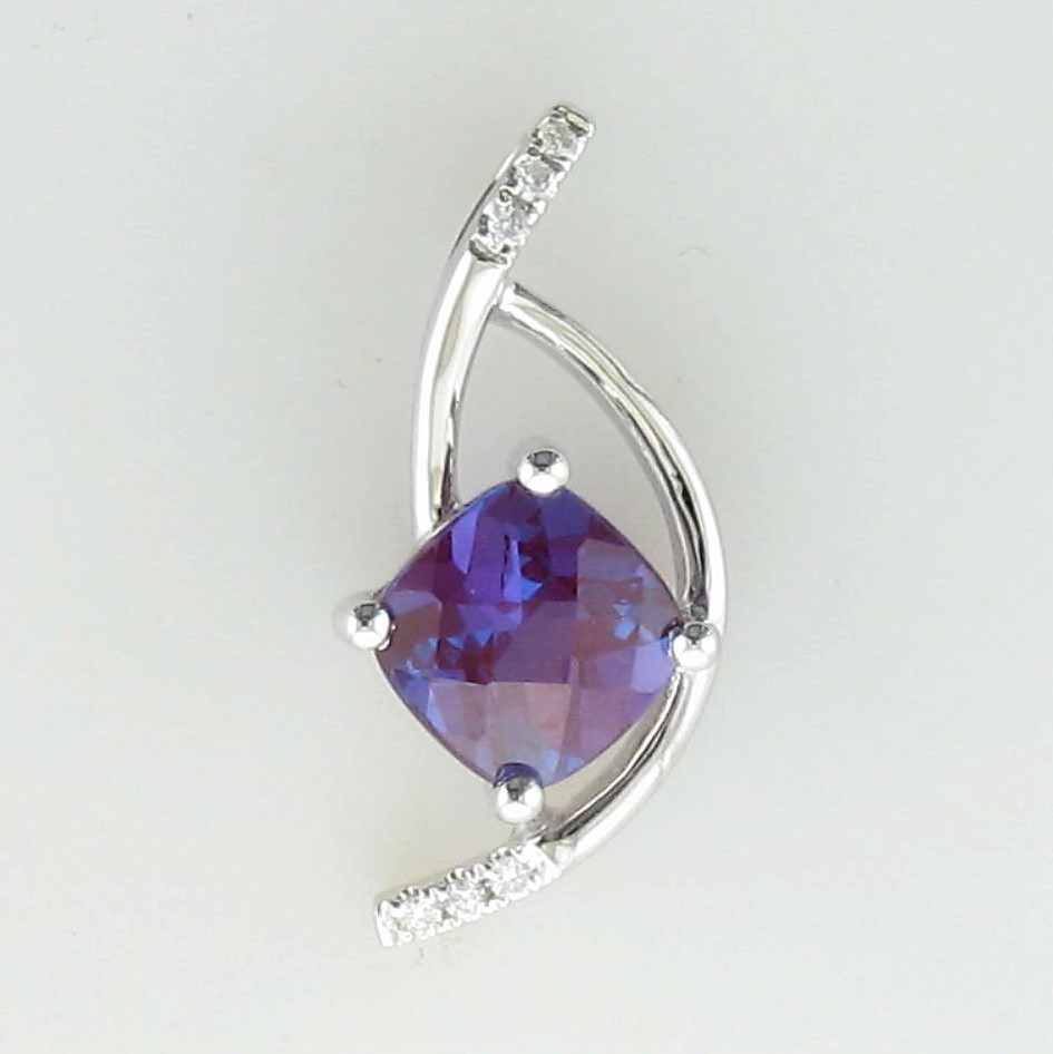 1.00ct Lab Alexandrite & Diamond Pendant set in 14K White Gold