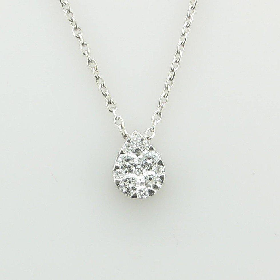 18K White Gold Teardrop Pave Diamond Necklace