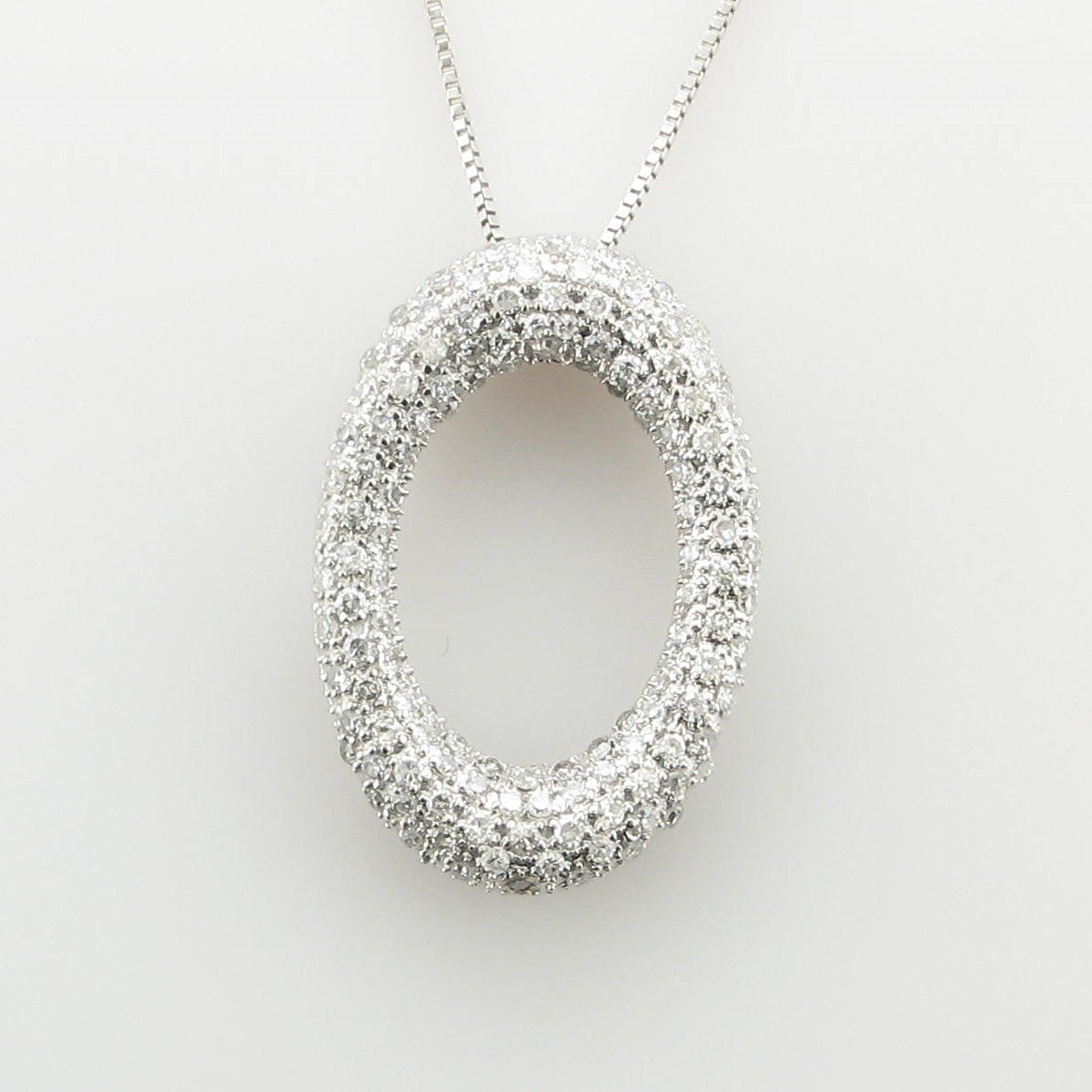 0.50ct Pave Diamond Oval Necklace set in 14K White Gold